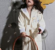 """Халат детский махровый """"KARNA"""" с капюшоном TEENY (Кремовый)"""