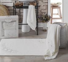 """Комплект махровых полотенец с ковриком """"IRYA"""" французский кружевной ROMANTIC 85x150-60x90-50x90 см 1"""